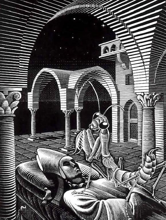 Dream by M.C. Escher