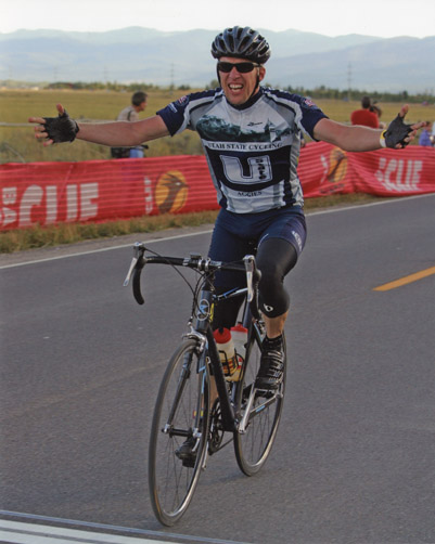 Brother Jason, Master of Cycling, embraces victory!